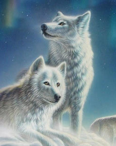 White Wolves Pair Paint by Diamonds