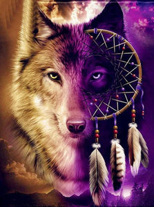 Wolf Dream Catcher Paint by Diamonds