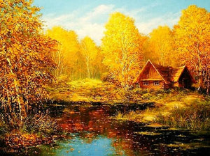 Yellow Autumn Trees Paint by Diamonds