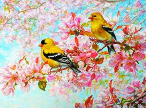 Yellow Birds & Pink Blossoms Diamond Painting