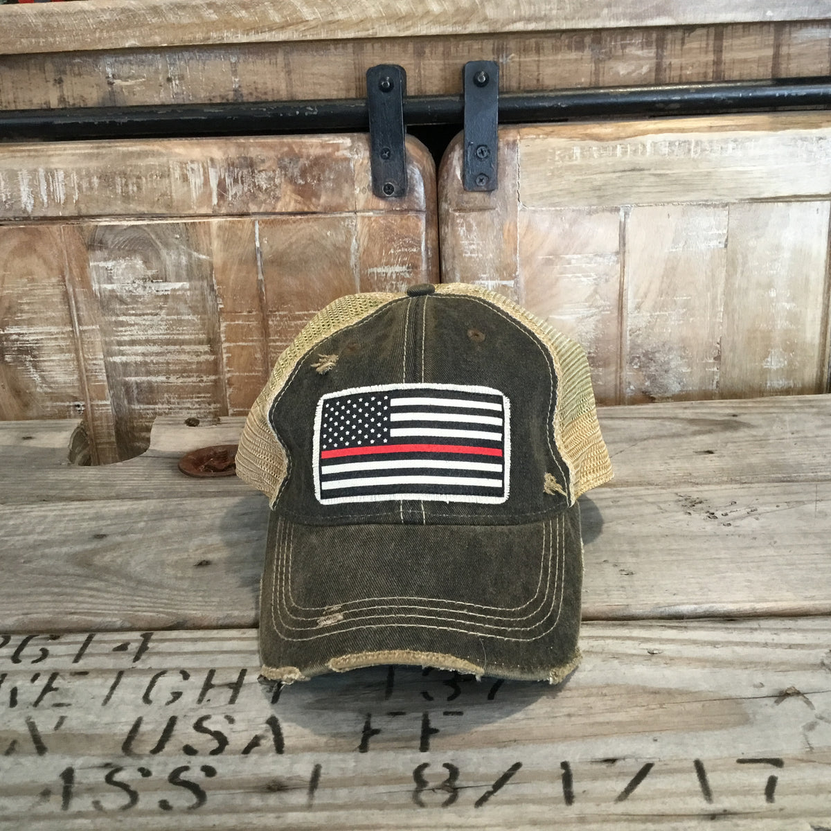 American Flag Thin Red Line Trucker Hat