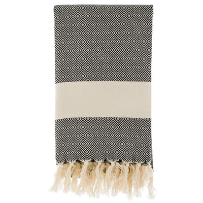 Herringbone Turkish Throw/Blanket With Stripe