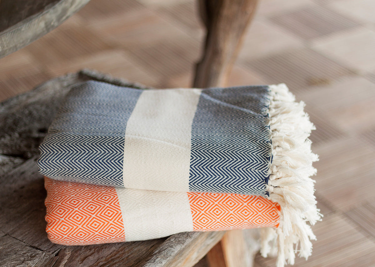 Herringbone Blanket With Stripe