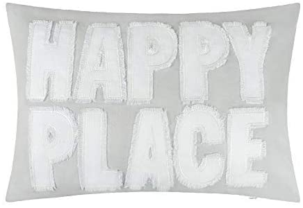 JWH Happy Place Accent Pillow Case Decorative Cushion Cover Decorative Sham Home Bed Living Room Decor Shell Gift 14 x 20 Inch Light Gray