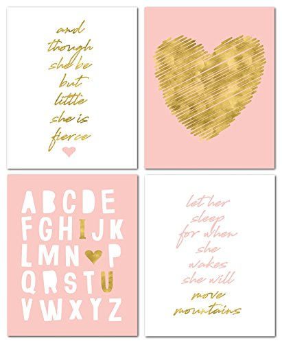 "8"" x10"" Gold Heart Nursery Prints for Baby Girl & Children Room Decor & Decorations Perfect for Baby Shower Gift Ideas"