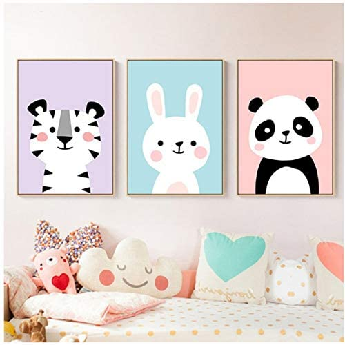 5STARS N&R Nursery Wall Art Baby Animals Prints Bunny Panda Tiger Poster Cute Lovely Canvas Painting Baby Girls Room Decoration Pictures -40x50x3Pcscm No Frame