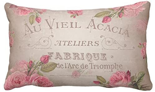UTF4C Vintage French Shabby chic Roses Pink Floral Throw Pillow Case Square 12 x 16 Inches Soft Cotton Canvas, Pillow Cover Decorative for Sofa Couch Hidden Zipper
