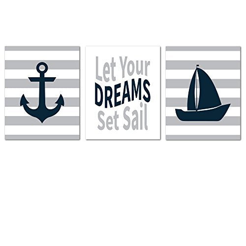 Nautical Unframed Nursery Decor Wall Art Print for Baby Room Decoration, Decorative and Easy to Frame 8x10 Set of 3 Printed Pictures for Baby Boy and Girl Bedroom Decors - NO Frames OR Matting