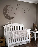 Moon and Stars Night Sky Vinyl Wall Art Decal Sticker Design for Nursery Room DIY Mural Decoration (White, 30x65 inches)