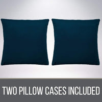 The Connecticut Home Company Luxurious Velvet Throw Pillow Cases, Set of 2 Decorative Case Sets, Pillow Covers, Luxury Soft Cases for Bedroom, Living Room, Couch, Sofa, Bed, 12x20, Midnight Navy Blue