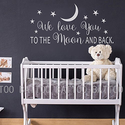 "BATTOO We Love You to The Moon and Back Wall Decal - Nursery Wall Decal - Moon and Stars Nursery Decals - Children Wall Decor - Wall Decals Nursery(White, 22""WX11""H)"