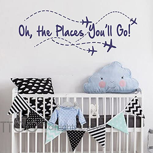 "BATTOO Airplane Wall Decal - Oh The Places You'll go - Nursery Wall Decal Quote - Airplane - Pilot Wall Decal - Boy Wall Sticker Girl Decor(Navy Blue, 22"" WX8.5 H)"