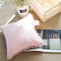 Meaning4 Pom Poms Fringe Cotton Throw Pillow Covers Shabby Pink 18X18 inches(45x45 cm) Pack of 2 (Not Include Insert)