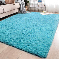 YJ.GWL Soft Shaggy Area Rugs for Living Room Bedroom Non-Slip Carpet Baby Nursery Decor Fluffy Modern Rug 4 x 5.3 Feet Blush