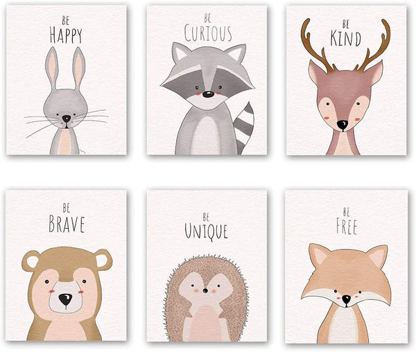 "6 Set- Woodland Animal Art Print, Safari Rabbit Reindeer Fox Bear with Inspirational Quote Canvas Wall Print for Kids Bedroom Classroom (Unframed, 8""X10"")"