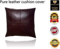 Leather Lovers 100% Lambskin Leather Pillow Cover - Sofa Cushion Case - Decorative Throw Covers for Living Room & Bedroom - 20x20 Inches - Antique Brown Pack of 1 (Light Brown)