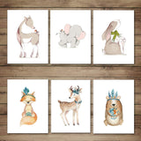 JIMHOMY Set of 6 Woodland Animal Wall Art, 8x10 Nursery Canvas Prints Décor, Cute Safari Picture Poster Artwork Unframed for Kid's Room, Kindergarten and School