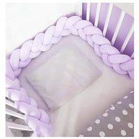 Baby Crib Bumper Plush Nursery Cradle Decor Knotted Braided Junior Bed Sleep Safety Bedside Padded Plush Cushion for Gift(118 Inch/3M, Purple)