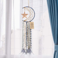 Dremisland Blue Dream Catcher Handmade Half Circle Moon Design Dream Catcher Feather Hanging with Star Home Decoration Ornament Festival Gift (Moon& Star)