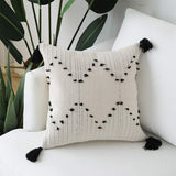 Unibedding Decorative Throw Pillow Covers for Couch Sofa,2 Pack Woven Tribal Tufted Pillow Case with Tassels, Accent Boho Cushion Covers for Farmhouse, Kids, Black Creamy 18X18 Inch