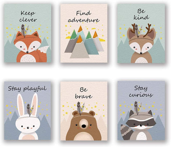"6 Set- Woodland Animal Art Print, Safari Fox Rabbit Reindeer Bear Mountain Inspirational Quote Canvas Wall Print for Kids Bedroom Classroom (Unframed, 8""X10"")"