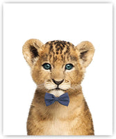 Designs by Maria Inc. Safari Bow Ties Baby Animals Nursery Decor Art - Set of 6 (Unframed) Wall Prints (8x10)