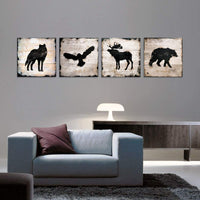 Woodland Animals Nursery Decor Wildlife Wall Art Canvas Print Eagle Elk Wolf Bear Animal Silhouette Painting Picture Artwork for Living Room Bedroom Home Decoration Ready to Hang 12x12 Inch 4 Panels