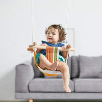 HAPPY PIE PLAY&ADVENTURE Secure Canvas Hanging Swing Seat Indoor Outdoor Hammock Toy for Toddler (Grey)