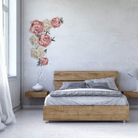Outivity Flowers Wall Sticker Peony Rose, Waterproof PVC Wall Decals Flowers for Living Room Bedroom Kitchen Playroom Nursery Room Sofa Background Decorations