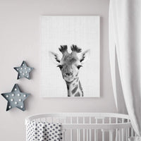 WPFZH Decorative Painting Canvas Print Giraffe Wall Art Print Safari Nursery Canvas Poster Decor Black & White Baby Animal Painting Pictures Baby Room Wall Decoration
