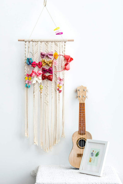 "Dahey Macrame Hair Bow Holder Hair Clips Hanger Headband Storage Organizer for Baby Girls Room Nursery Boho Wall Decor, 17"" W × 33"" L(Clips and Other Props Not Included)"