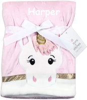 Buttons and Stitches Personalized Unicorn Pink Luxe Faux Fur Baby Blanket with Name - 30 inches x 40 inches