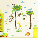 Amaonm Removable Creative DIY Nursery Room Wall Decor Stickers Giant Coconut Tree & Animal Monkey Birds Wall Decals for Kids Babys Boy and Girls Bedroom Living Room Classroom Wall Decorations