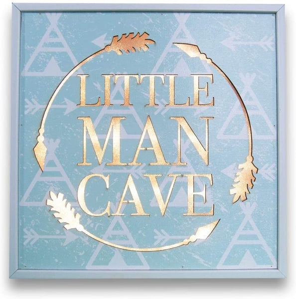 Premier Home Imports Premium Little Man Cave Children's Box Sign- Blue and White (10 x 10 Inches)