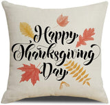 QIQIANY Set of 4 Happy Thanksgiving Fall Decoration Farmhouse Throw Pillow Covers 18 x 18 inches Pumpkin Maple Leaf Crow and Arrow, Home Decor Fall Cushions Throw Pillow Cases for Sofa Couch Bed