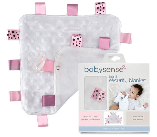 BABY SENSE Taglet Security Baby Blanket Lovey with Pacifier Tag | Soft, Soothing, Comfortable, Warm, Cozy | Unisex & Toddler | Durable & Machine Washable (Pink)