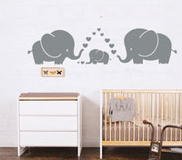 LUCKKYY Cute Three Family Elephant Wall Decals for Kid Room Room Decor Baby Nursery (Gray)