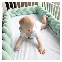 "Infant Soft Pad Braided Crib Bumper Knot Pillow Cushion Cradle Decor for Baby Girl and Boy (White, 79"")"