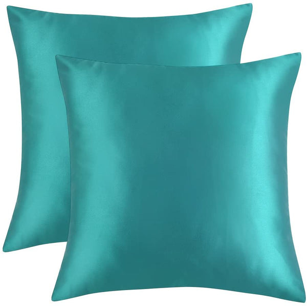 "Artcest Set of 2, Cozy Solid Mircofiber Bed Throw Pillow Case, Decorative Couch Cushion Cover, Soft Sofa Toss Pillow Cover, with Zipper Hidden (Turquoise, 18""x18"")"