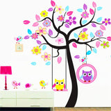 Animal Jungle Tree Wall Decal Nursery Kids Wall Decor Owl Wall Decals Jungle Theme Wall Mural Vinyl Art Wall Stickers for Nursery Kids Room Decor (Owl Decor)