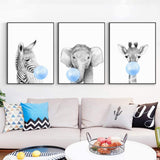 LZHNB Nursery Animal Print Blue Bubble Gum Poster Zebra Koala Giraffe Elephant Canvas Painting Wall Art Baby Kids Room Decor-30x40cmx4 pcs no Frame