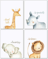 Confetti Fox Safari Baby Animals Nursery Wall Art Decor - 8x10 Unframed Set of 4 Prints - Boy Girl Kids Watercolor Quotes Bedroom Bathroom Decorations - Giraffe Rhino Elephant Lion