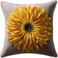 OiseauVoler 3D Sunflowers Handmade Throw Pillow Cases Faux Wool Decorative Cushion Covers Canvas Pillowcases Home Sofa Car Bed Room Decor 18 x 18 Inch Green