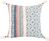 Merrycolor Tufted Decorative Throw Pillow Cover for Couch Sofa Woven Boho Tribal Pillow Cases with Tassel Square Cushion Cover Moroccan Style Accent Pillow 18x18 Inches(Blue)