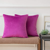 Ashler Pack of 2 Soft Velvet Decorative Throw Pillow Cushion Cover Sets Light Purple 20 X 20 Inches 50 x 50 cm