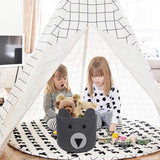 CherryNow Bear Basket, Cotton Rope Basket, Woven Laundry Hamper, Cute Storage Bin in Bedroom, Nursery & Living Room, 10'' (H) x 12'' (D)