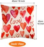 TUPARKA 4 Pcs Happy Valentine's Day Throw Pillow Covers Linen Pillow Case Cover 18 x 18 Inch Home Cushion Decoration