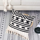 "Bigcozy Boho Accent Pillow Cover with Tassel, Black White Textured Decorative Pillow Case Fringe Square 18""x18"""