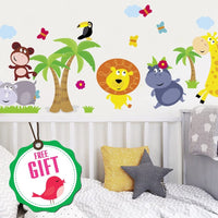 Animal Safari Jungle Vinyl Wall Decal for Kids Bedroom playroom - Decorative Art Stickers for Baby Girl Boy Wall Decor - Nursery Wall Stickers [24 Art clings] - Wall Decals for Boy - with Gift!