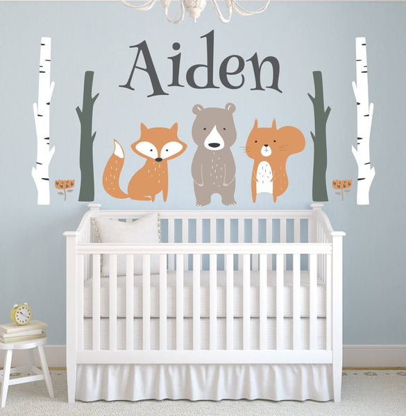 "Lovely Decals World LLC Custom Woodland Animals Name Wall Decal Forest Nursery Baby Room Mural Art Decor Vinyl Sticker LD10 (42"" W x 22"" H)"